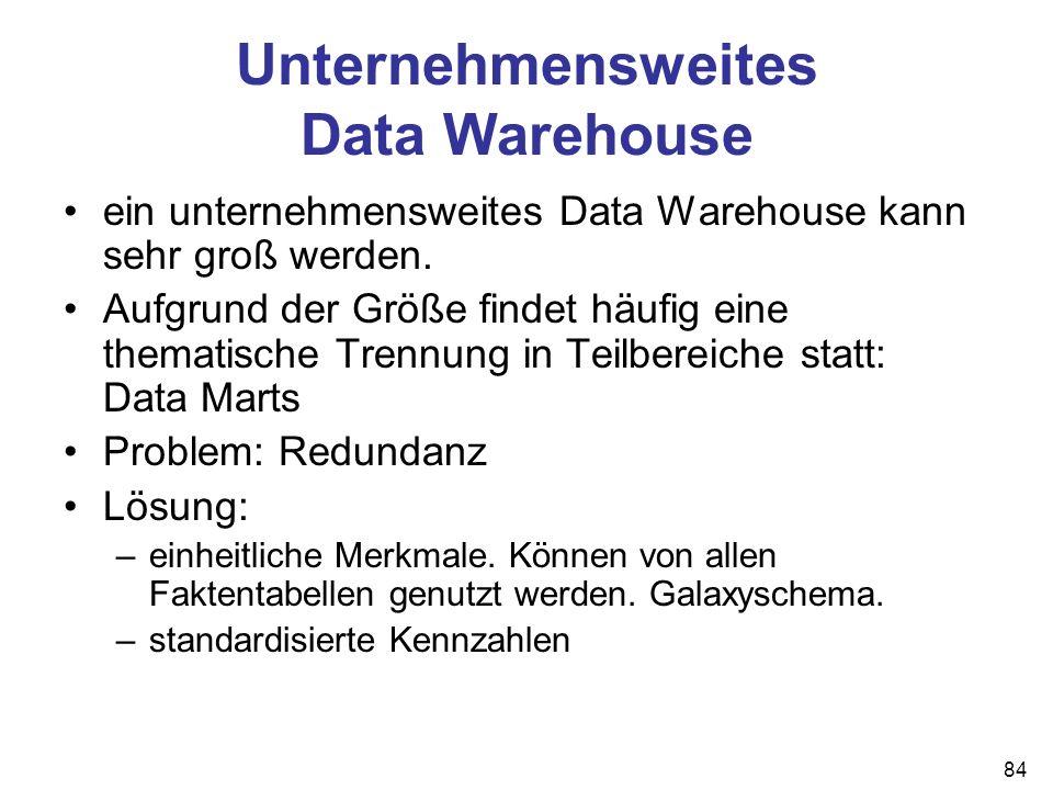 84 Unternehmensweites Data Warehouse ein unternehmensweites Data Warehouse kann sehr groß werden. Aufgrund der Größe findet häufig eine thematische Tr