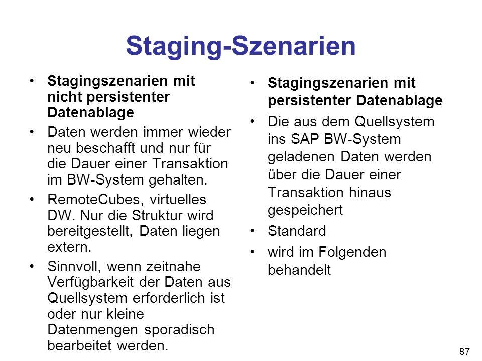 87 Staging-Szenarien Stagingszenarien mit nicht persistenter Datenablage Daten werden immer wieder neu beschafft und nur für die Dauer einer Transakti