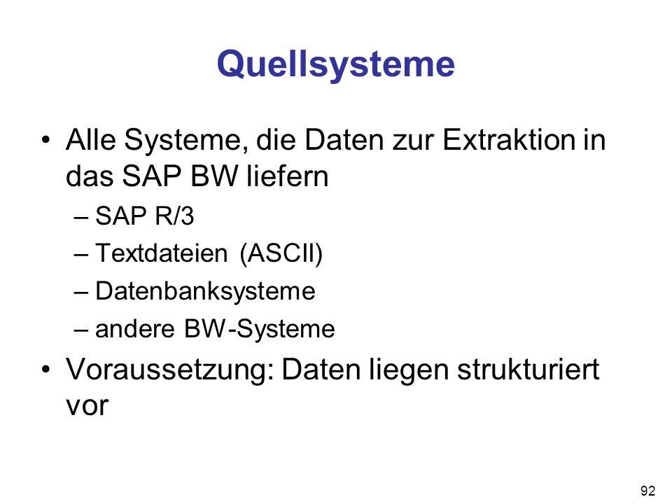 92 Quellsysteme Alle Systeme, die Daten zur Extraktion in das SAP BW liefern –SAP R/3 –Textdateien (ASCII) –Datenbanksysteme –andere BW-Systeme Voraus