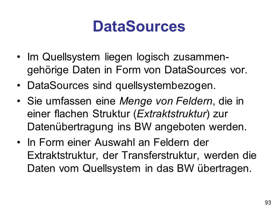 93 DataSources Im Quellsystem liegen logisch zusammen- gehörige Daten in Form von DataSources vor. DataSources sind quellsystembezogen. Sie umfassen e
