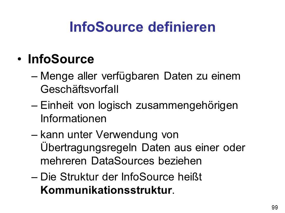 99 InfoSource definieren InfoSource –Menge aller verfügbaren Daten zu einem Geschäftsvorfall –Einheit von logisch zusammengehörigen Informationen –kan