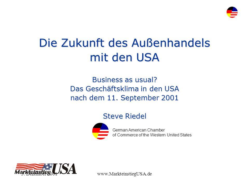 3. Dezember 2001www.MarkteinstiegUSA.de Die Zukunft des Außenhandels mit den USA Business as usual? Das Geschäftsklima in den USA nach dem 11. Septemb