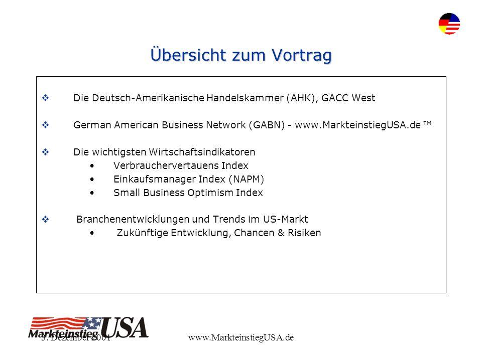 3. Dezember 2001www.MarkteinstiegUSA.de Übersicht zum Vortrag Die Deutsch-Amerikanische Handelskammer (AHK), GACC West German American Business Networ