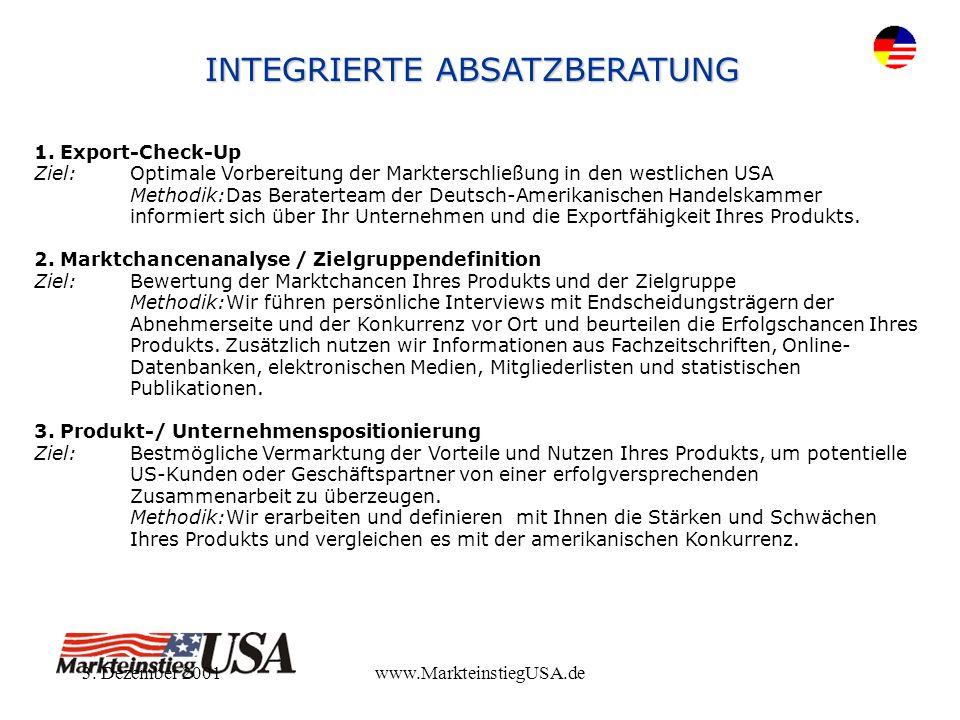 3. Dezember 2001www.MarkteinstiegUSA.de 1. Export-Check-Up Ziel:Optimale Vorbereitung der Markterschließung in den westlichen USA Methodik:Das Berater