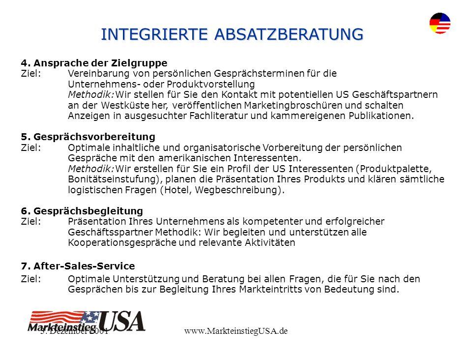 3. Dezember 2001www.MarkteinstiegUSA.de 4. Ansprache der Zielgruppe Ziel:Vereinbarung von persönlichen Gesprächsterminen für die Unternehmens- oder Pr