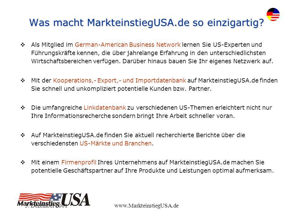 3. Dezember 2001www.MarkteinstiegUSA.de Was macht MarkteinstiegUSA.de so einzigartig? Als Mitglied im German-American Business Network lernen Sie US-E