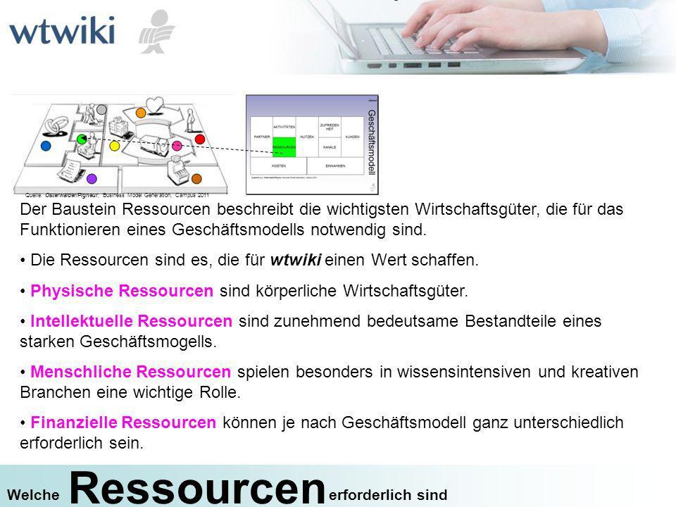 Ressourcen erforderlich sindWelche Der Baustein Ressourcen beschreibt die wichtigsten Wirtschaftsgüter, die für das Funktionieren eines Geschäftsmodel