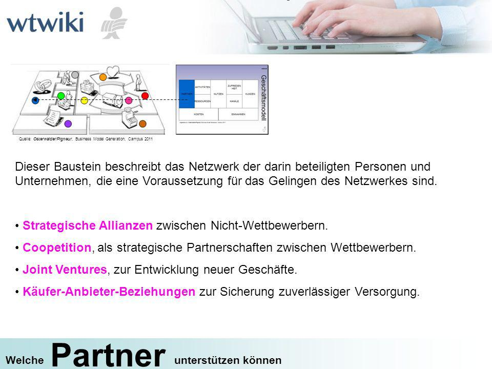 Partner unterstützen könnenWelche Dieser Baustein beschreibt das Netzwerk der darin beteiligten Personen und Unternehmen, die eine Voraussetzung für d