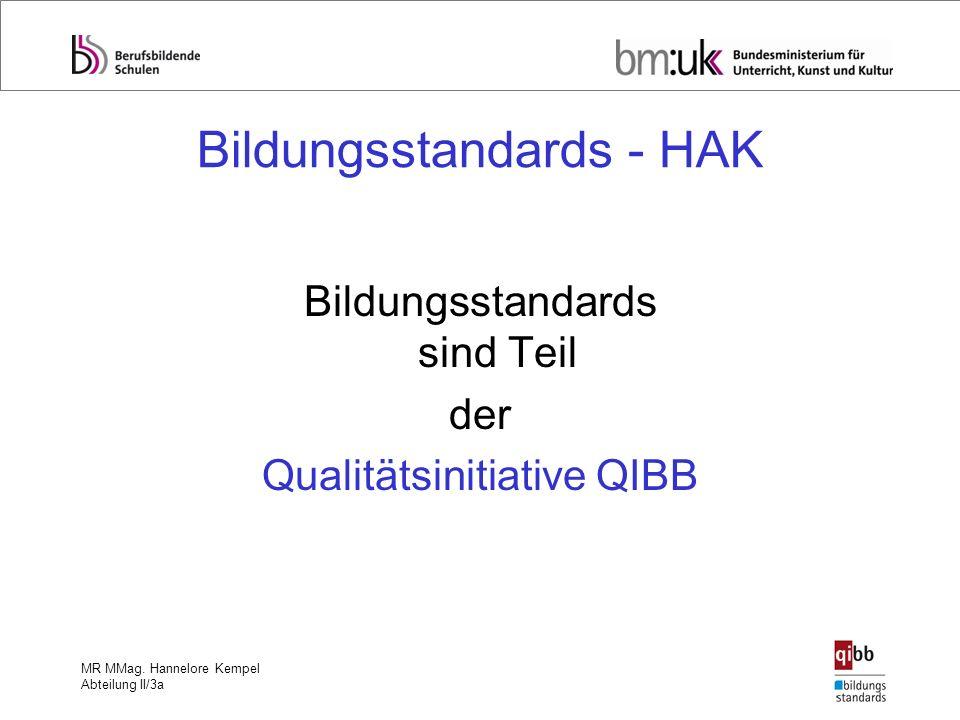 MR MMag. Hannelore Kempel Abteilung II/3a Bildungsstandards - HAK Bildungsstandards sind Teil der Qualitätsinitiative QIBB