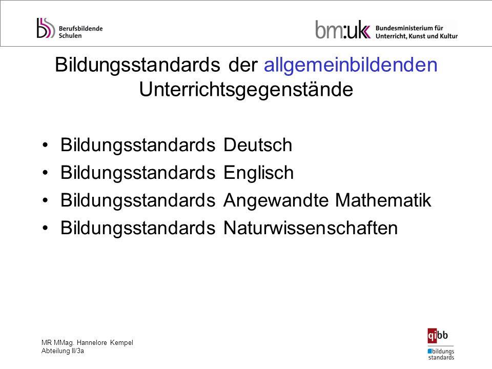 MR MMag. Hannelore Kempel Abteilung II/3a Bildungsstandards der allgemeinbildenden Unterrichtsgegenstände Bildungsstandards Deutsch Bildungsstandards