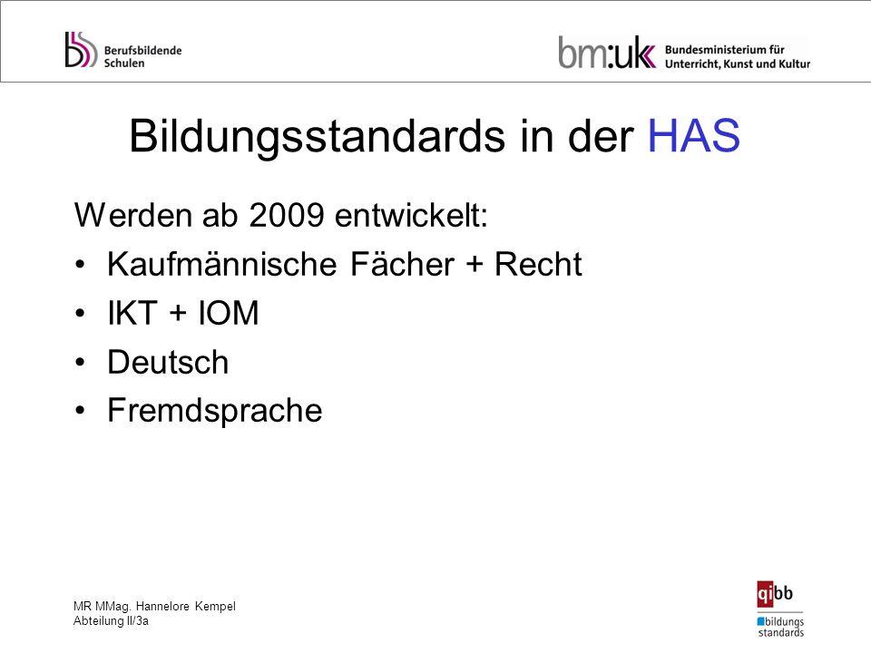 MR MMag. Hannelore Kempel Abteilung II/3a Bildungsstandards in der HAS Werden ab 2009 entwickelt: Kaufmännische Fächer + Recht IKT + IOM Deutsch Fremd