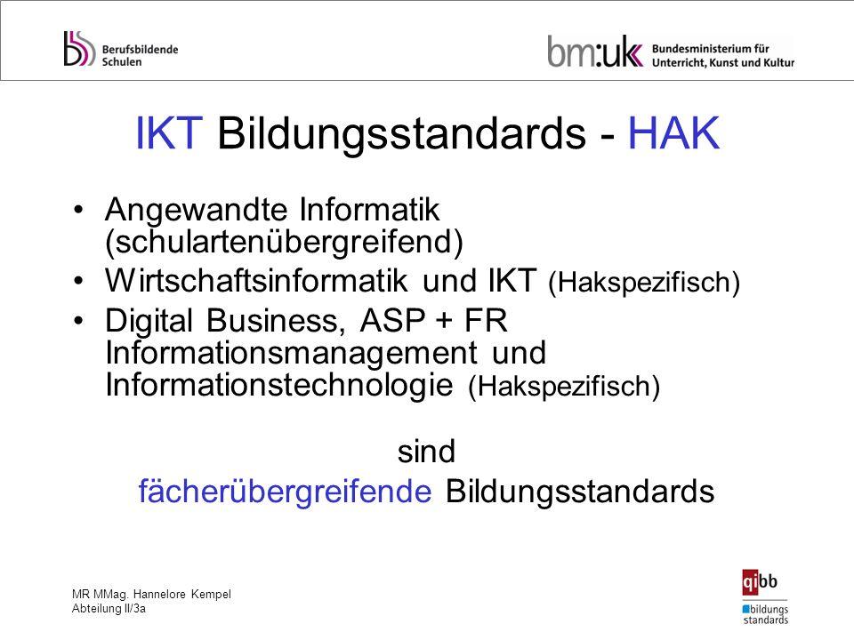 MR MMag. Hannelore Kempel Abteilung II/3a IKT Bildungsstandards - HAK Angewandte Informatik (schulartenübergreifend) Wirtschaftsinformatik und IKT (Ha