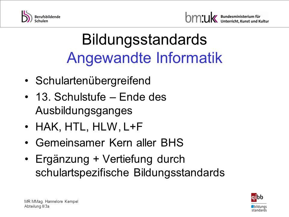 MR MMag. Hannelore Kempel Abteilung II/3a Bildungsstandards Angewandte Informatik Schulartenübergreifend 13. Schulstufe – Ende des Ausbildungsganges H