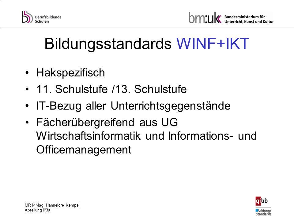 MR MMag. Hannelore Kempel Abteilung II/3a Bildungsstandards WINF+IKT Hakspezifisch 11. Schulstufe /13. Schulstufe IT-Bezug aller Unterrichtsgegenständ