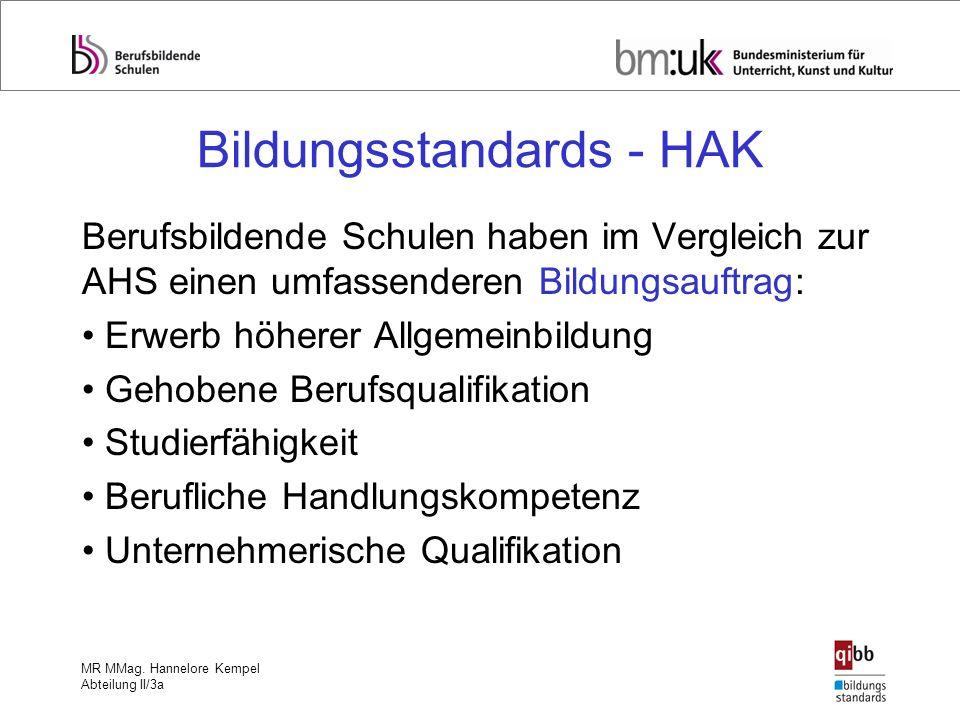 MR MMag. Hannelore Kempel Abteilung II/3a Bildungsstandards - HAK Berufsbildende Schulen haben im Vergleich zur AHS einen umfassenderen Bildungsauftra