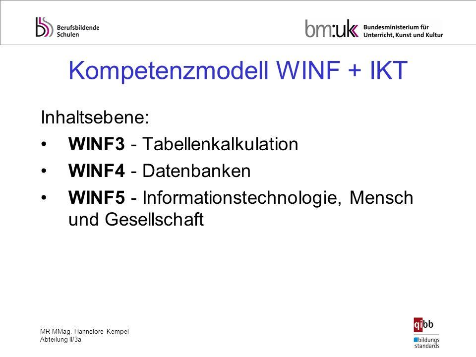 MR MMag. Hannelore Kempel Abteilung II/3a Kompetenzmodell WINF + IKT Inhaltsebene: WINF3 - Tabellenkalkulation WINF4 - Datenbanken WINF5 - Information