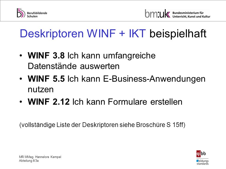 MR MMag. Hannelore Kempel Abteilung II/3a Deskriptoren WINF + IKT beispielhaft WINF 3.8 Ich kann umfangreiche Datenstände auswerten WINF 5.5 Ich kann