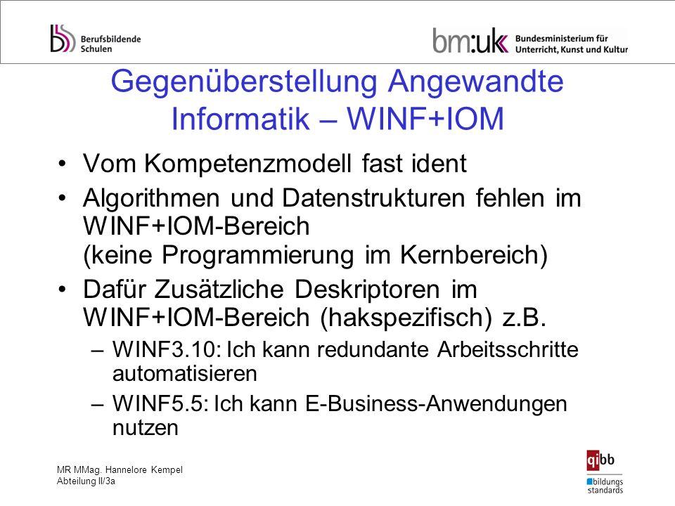 MR MMag. Hannelore Kempel Abteilung II/3a Gegenüberstellung Angewandte Informatik – WINF+IOM Vom Kompetenzmodell fast ident Algorithmen und Datenstruk