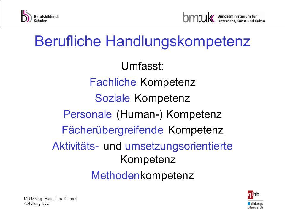 MR MMag. Hannelore Kempel Abteilung II/3a Berufliche Handlungskompetenz Umfasst: Fachliche Kompetenz Soziale Kompetenz Personale (Human-) Kompetenz Fä