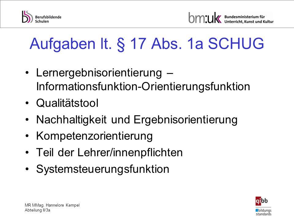 MR MMag. Hannelore Kempel Abteilung II/3a Aufgaben lt. § 17 Abs. 1a SCHUG Lernergebnisorientierung – Informationsfunktion-Orientierungsfunktion Qualit