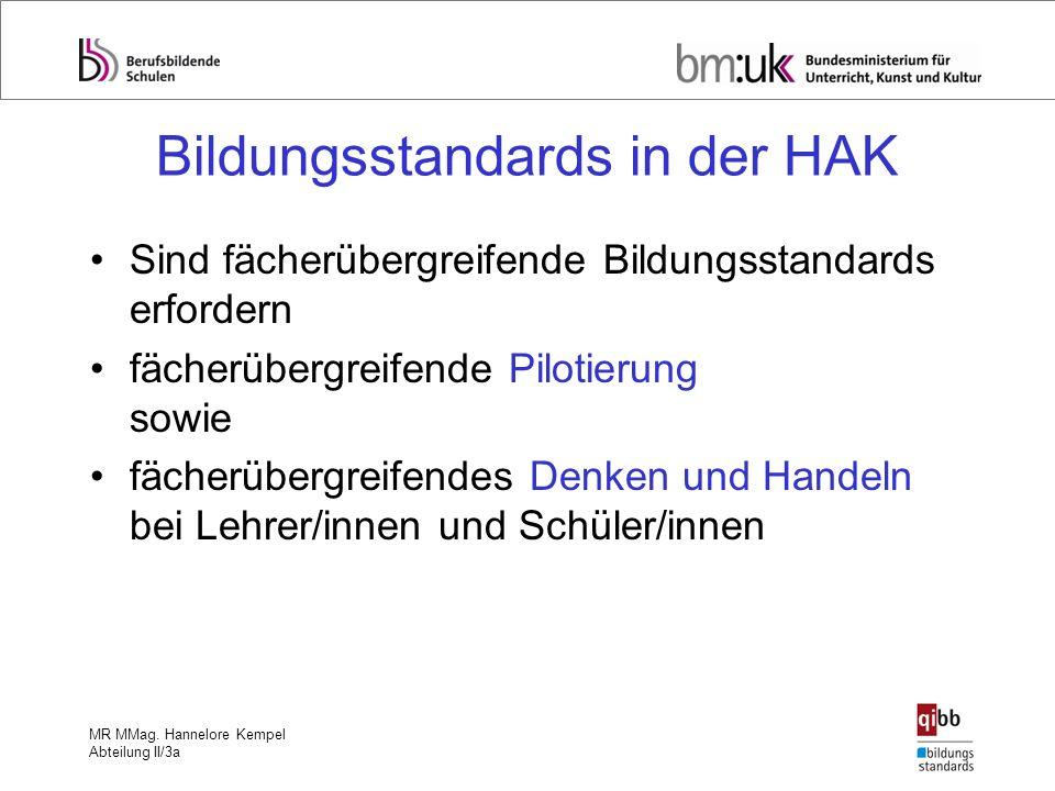 MR MMag. Hannelore Kempel Abteilung II/3a Bildungsstandards in der HAK Sind fächerübergreifende Bildungsstandards erfordern fächerübergreifende Piloti