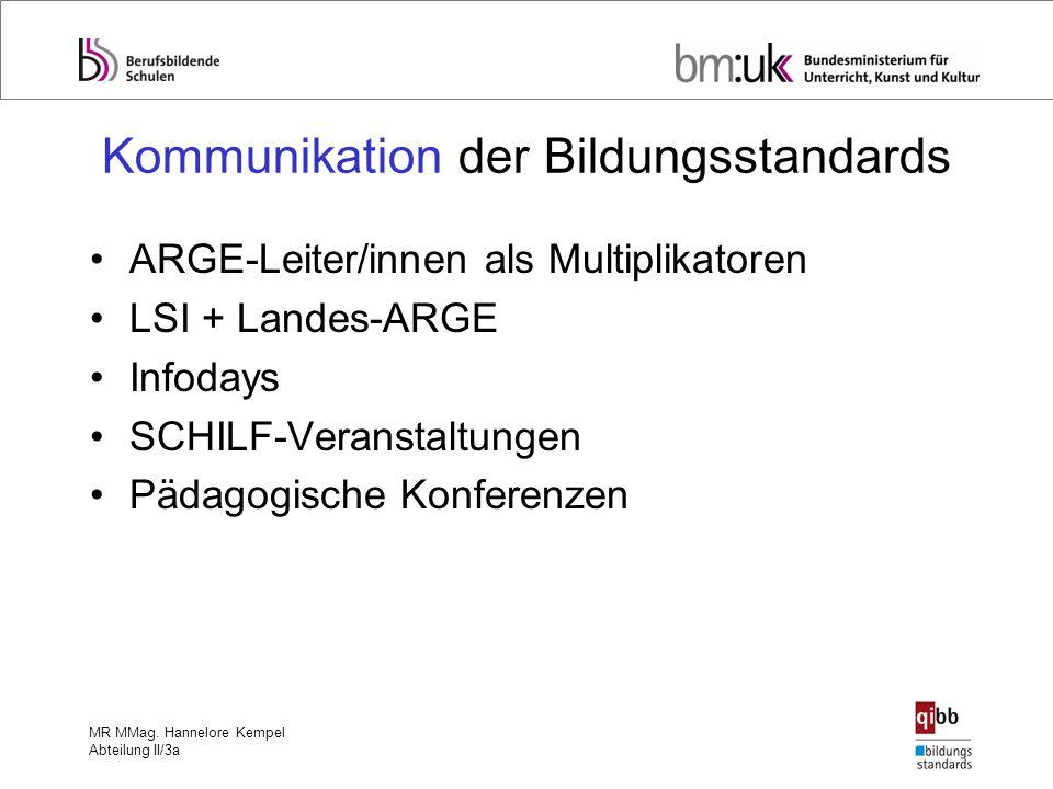 MR MMag. Hannelore Kempel Abteilung II/3a Kommunikation der Bildungsstandards ARGE-Leiter/innen als Multiplikatoren LSI + Landes-ARGE Infodays SCHILF-
