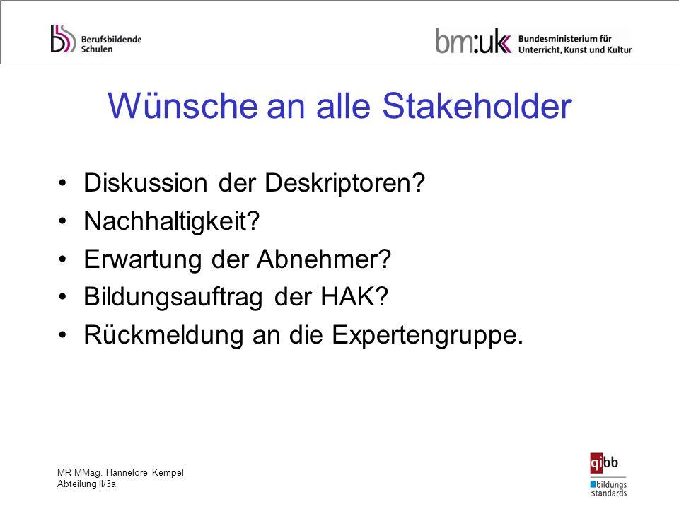 MR MMag. Hannelore Kempel Abteilung II/3a Wünsche an alle Stakeholder Diskussion der Deskriptoren? Nachhaltigkeit? Erwartung der Abnehmer? Bildungsauf