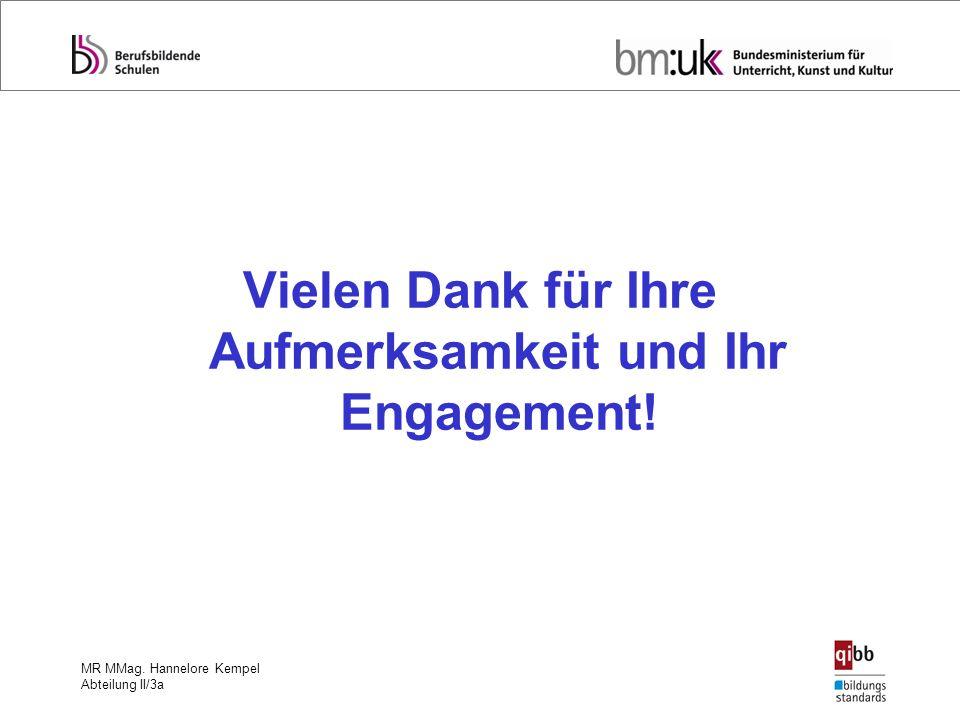 MR MMag. Hannelore Kempel Abteilung II/3a Vielen Dank für Ihre Aufmerksamkeit und Ihr Engagement!