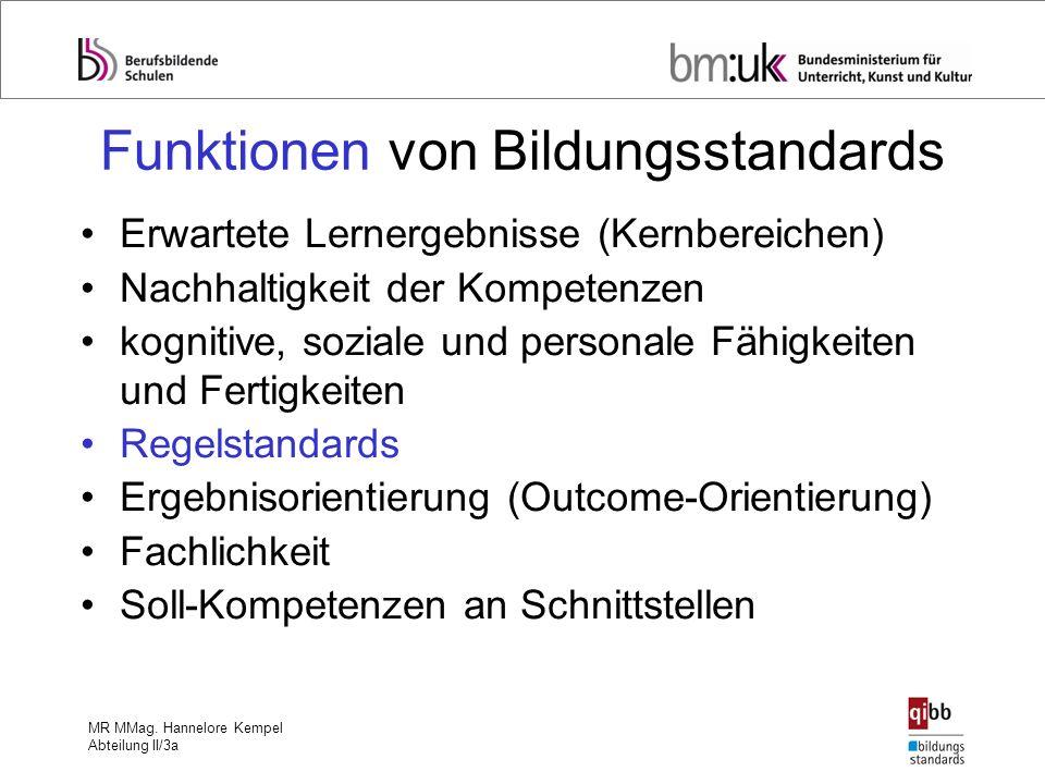 MR MMag. Hannelore Kempel Abteilung II/3a Funktionen von Bildungsstandards Erwartete Lernergebnisse (Kernbereichen) Nachhaltigkeit der Kompetenzen kog
