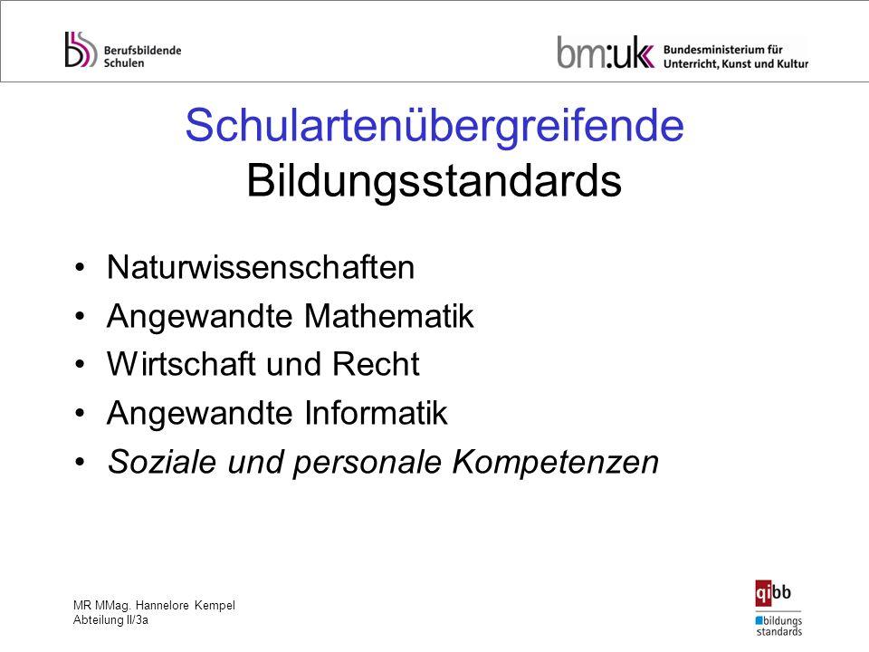 MR MMag. Hannelore Kempel Abteilung II/3a Schulartenübergreifende Bildungsstandards Naturwissenschaften Angewandte Mathematik Wirtschaft und Recht Ang