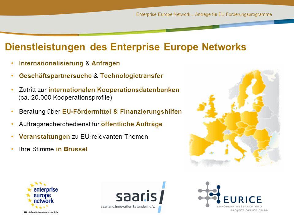 Enterprise Europe Network – Anträge für EU Förderungsprogramme Internationalisierung & Anfragen Geschäftspartnersuche & Technologietransfer Zutritt zu