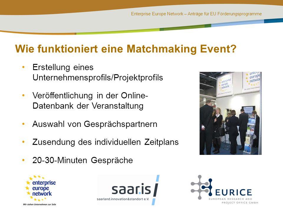 Enterprise Europe Network – Anträge für EU Förderungsprogramme Wie funktioniert eine Matchmaking Event? Erstellung eines Unternehmensprofils/Projektpr