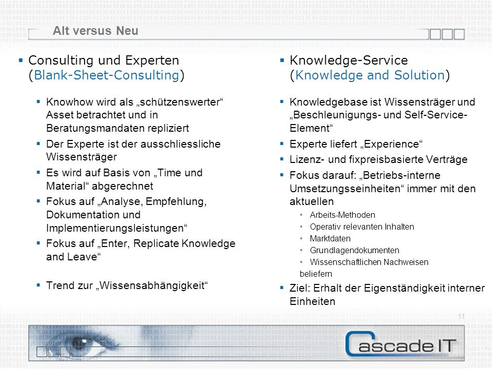 Alt versus Neu 11 Consulting und Experten (Blank-Sheet-Consulting) Knowledge-Service (Knowledge and Solution) Knowledgebase ist Wissensträger und Besc