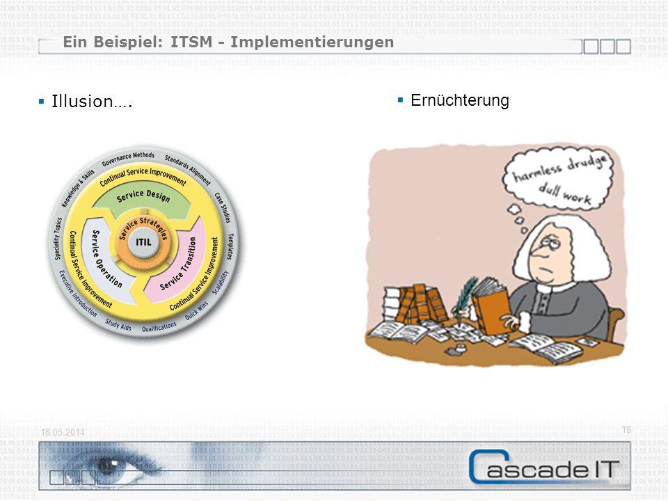 Ein Beispiel: ITSM - Implementierungen Illusion…. 18.05.2014 18 Ernüchterung