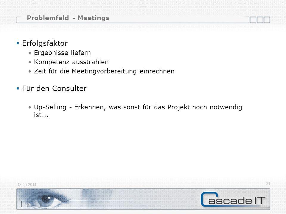 Problemfeld - Meetings Erfolgsfaktor Ergebnisse liefern Kompetenz ausstrahlen Zeit für die Meetingvorbereitung einrechnen Für den Consulter Up-Selling - Erkennen, was sonst für das Projekt noch notwendig ist….