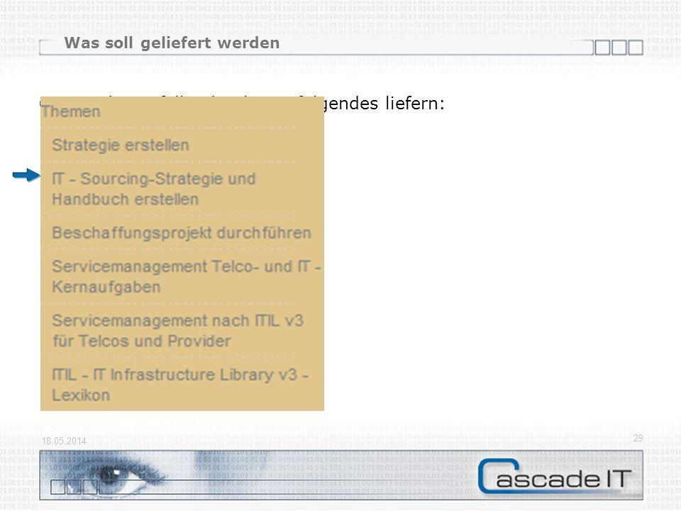 Was soll geliefert werden Für jedes anfallende Thema folgendes liefern: Begriffe Ablaufpläne Tools und Templates Beispieldokumente 18.05.2014 29