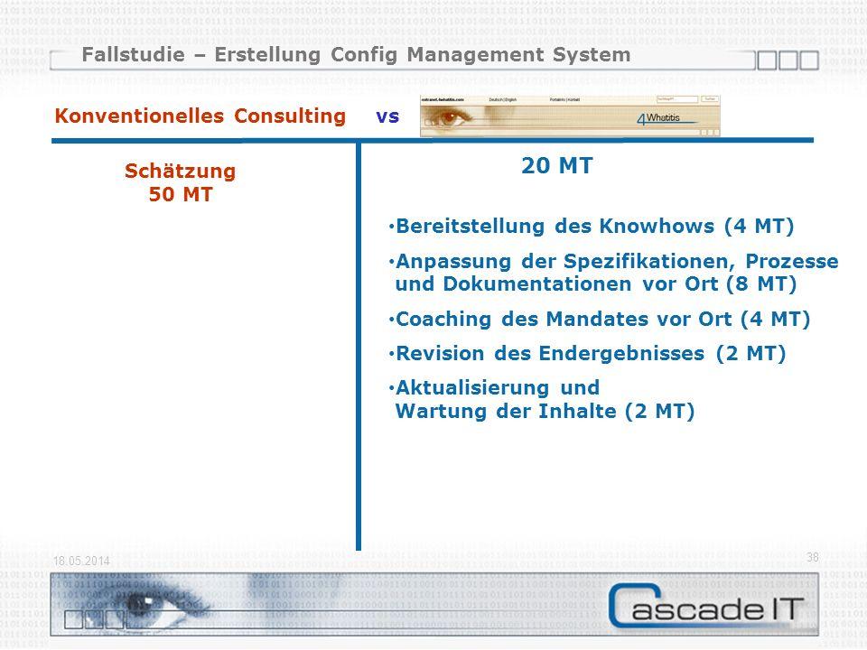 Fallstudie – Erstellung Config Management System 18.05.2014 38 Schätzung 50 MT Konventionelles Consulting vs 20 MT Bereitstellung des Knowhows (4 MT) Anpassung der Spezifikationen, Prozesse und Dokumentationen vor Ort (8 MT) Coaching des Mandates vor Ort (4 MT) Revision des Endergebnisses (2 MT) Aktualisierung und Wartung der Inhalte (2 MT)