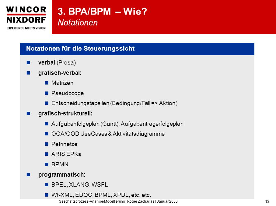 Geschäftsprozess-Analyse/Modellierung | Roger Zacharias | Januar 200613 verbal (Prosa) grafisch-verbal: Matrizen Pseudocode Entscheidungstabellen (Bedingung/Fall => Aktion) grafisch-strukturell: Aufgabenfolgeplan (Gantt), Aufgabenträgerfolgeplan OOA/OOD UseCases & Aktivitätsdiagramme Petrinetze ARIS EPKs BPMN programmatisch: BPEL, XLANG, WSFL Wf-XML, EDOC, BPML, XPDL, etc.