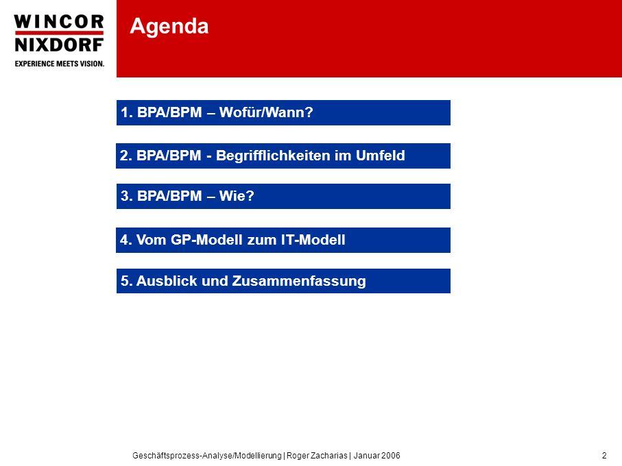 Geschäftsprozess-Analyse/Modellierung | Roger Zacharias | Januar 20062 Agenda 1.