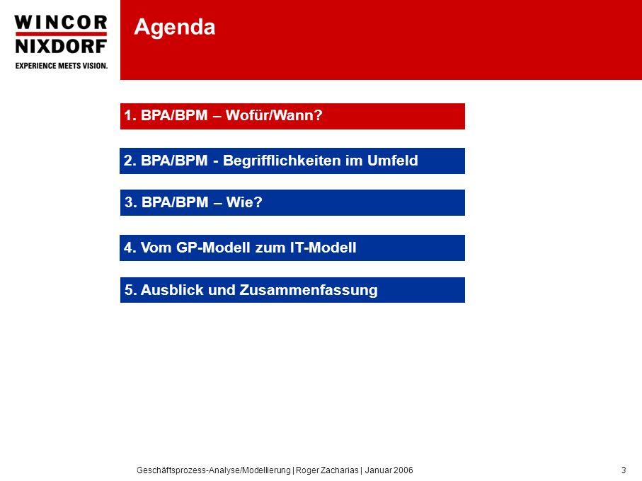 Geschäftsprozess-Analyse/Modellierung | Roger Zacharias | Januar 20063 Agenda 1.