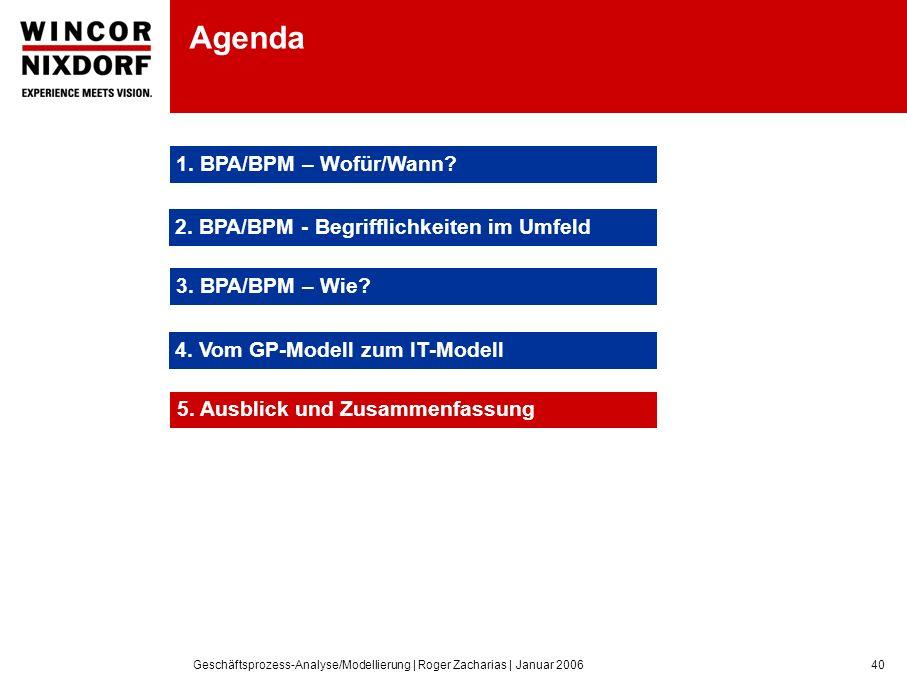 Geschäftsprozess-Analyse/Modellierung | Roger Zacharias | Januar 200640 Agenda 1.