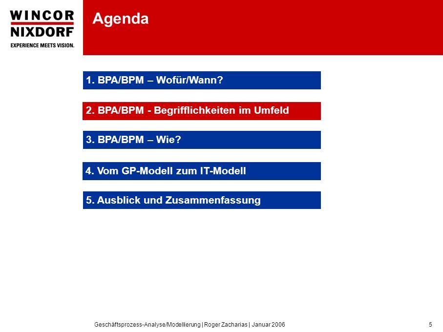 Geschäftsprozess-Analyse/Modellierung | Roger Zacharias | Januar 20065 Agenda 1.