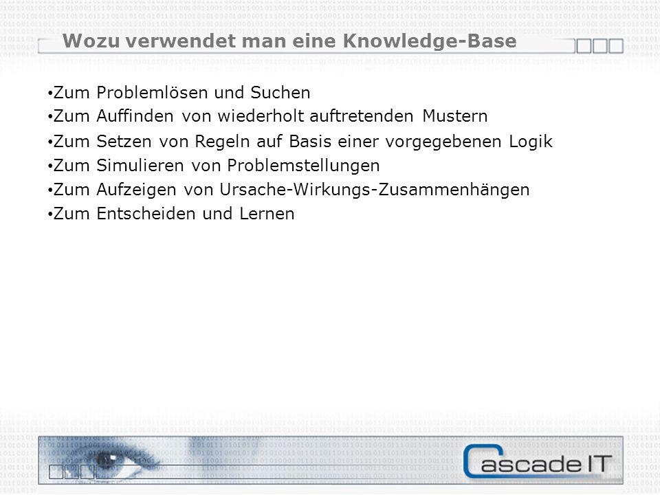 Zum Problemlösen und Suchen Zum Auffinden von wiederholt auftretenden Mustern Zum Setzen von Regeln auf Basis einer vorgegebenen Logik Zum Simulieren von Problemstellungen Zum Aufzeigen von Ursache-Wirkungs-Zusammenhängen Zum Entscheiden und Lernen Wozu verwendet man eine Knowledge-Base