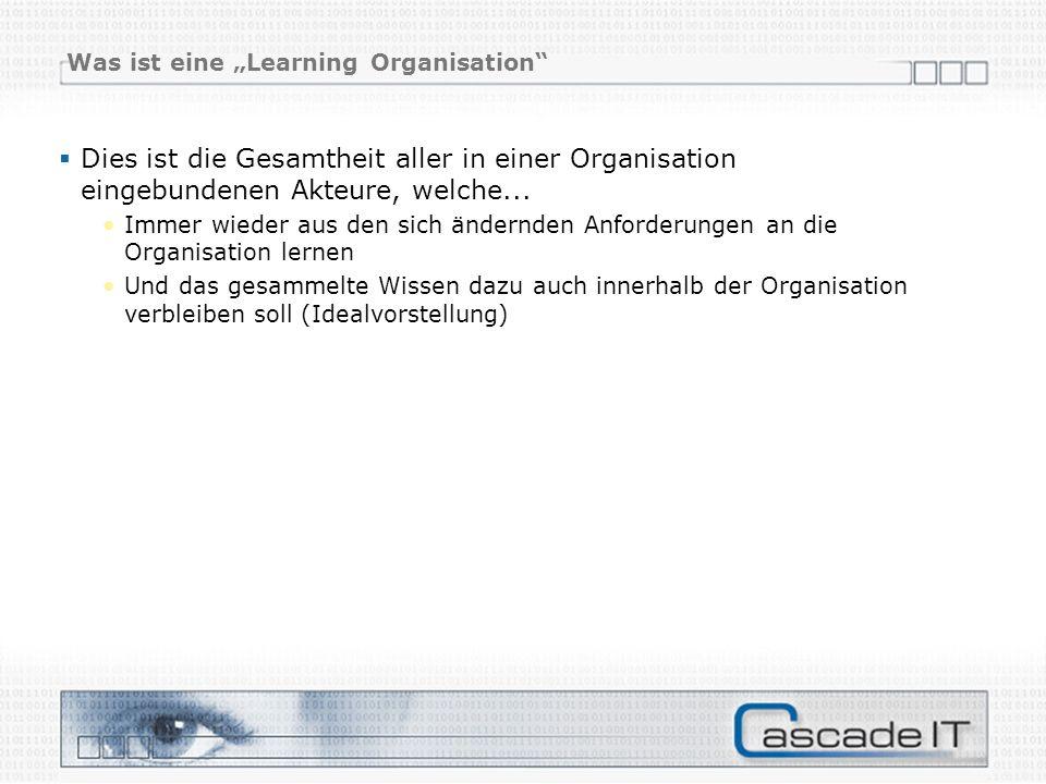 Was ist eine Learning Organisation Dies ist die Gesamtheit aller in einer Organisation eingebundenen Akteure, welche...