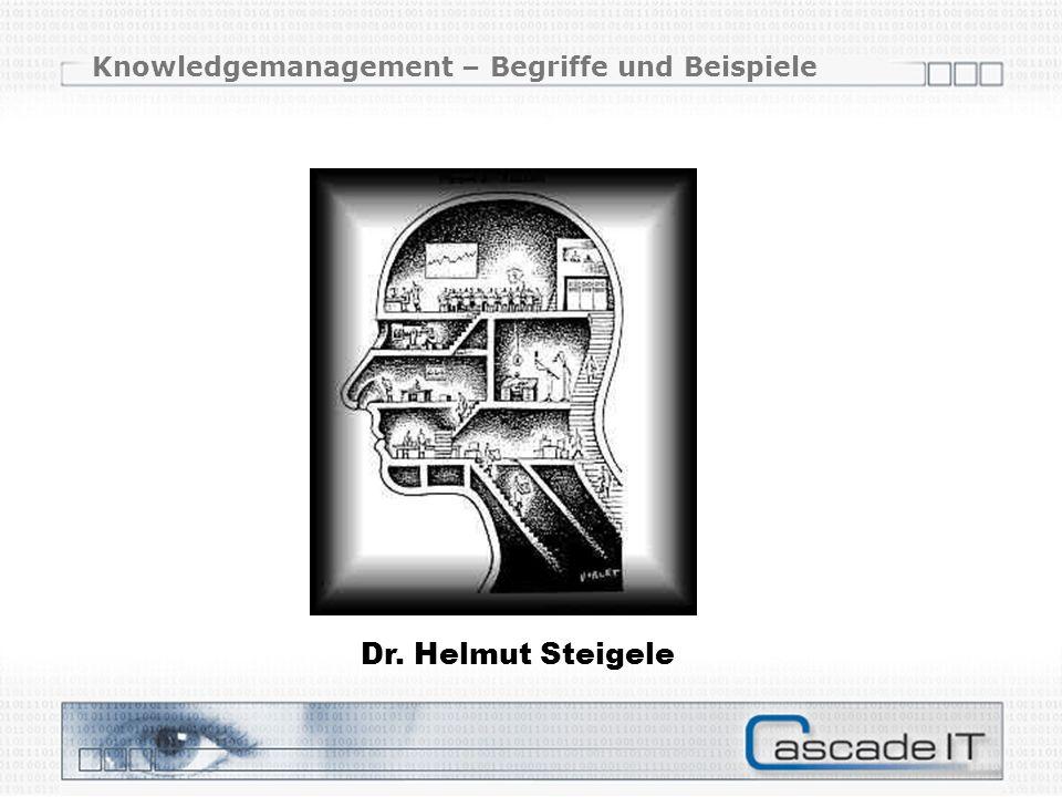 Knowledgemanagement – Begriffe und Beispiele Dr. Helmut Steigele