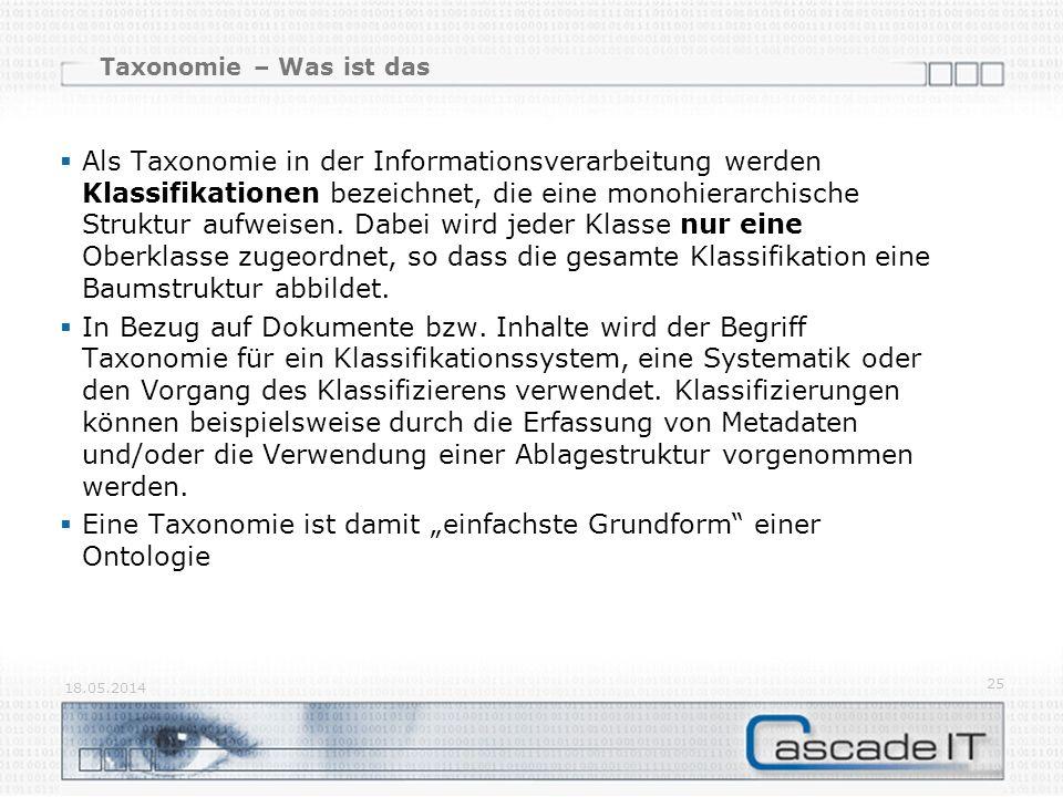 Taxonomie – Was ist das Als Taxonomie in der Informationsverarbeitung werden Klassifikationen bezeichnet, die eine monohierarchische Struktur aufweisen.