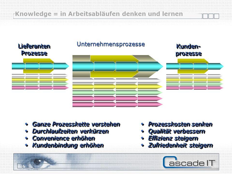 Lieferanten Prozesse Kunden- prozesse Unternehmensprozesse Ganze Prozesskette verstehen Prozesskosten senken Ganze Prozesskette verstehen Prozesskoste