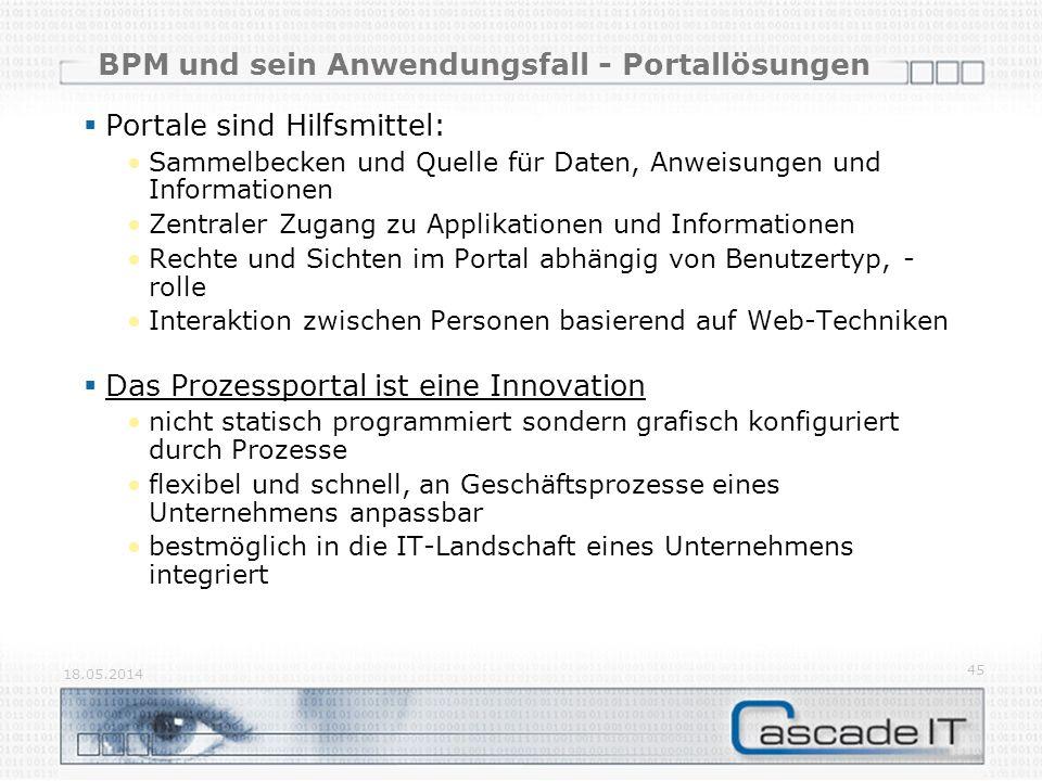 BPM und sein Anwendungsfall - Portallösungen 18.05.2014 45 Portale sind Hilfsmittel: Sammelbecken und Quelle für Daten, Anweisungen und Informationen