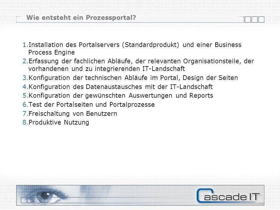 Wie entsteht ein Prozessportal? 1.Installation des Portalservers (Standardprodukt) und einer Business Process Engine 2.Erfassung der fachlichen Abläuf