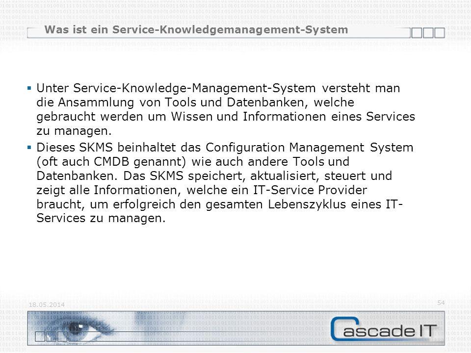 Was ist ein Service-Knowledgemanagement-System Unter Service-Knowledge-Management-System versteht man die Ansammlung von Tools und Datenbanken, welche gebraucht werden um Wissen und Informationen eines Services zu managen.